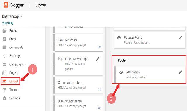 Blogger Blog में Copyright Footer  / Powered By Blogger Link को Remove कैंसे करें