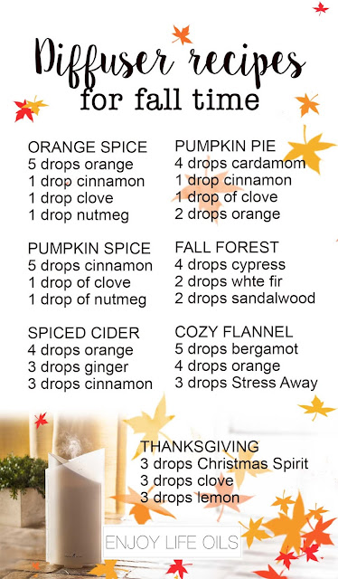 Seven fall diffuser recipes that give you the aroma of autumn and Thanksgiving with scents like Pumpkin Pie, Spiced Cider, and even fresh forest. Just a couple of drops of essential oils are needed. Let your home awaken your senses this fall without the fear of any toxins and allergens.