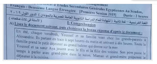 امتحان اللغة الفرنسية للشهادة الثانوية السودانية الدور الاول 2019