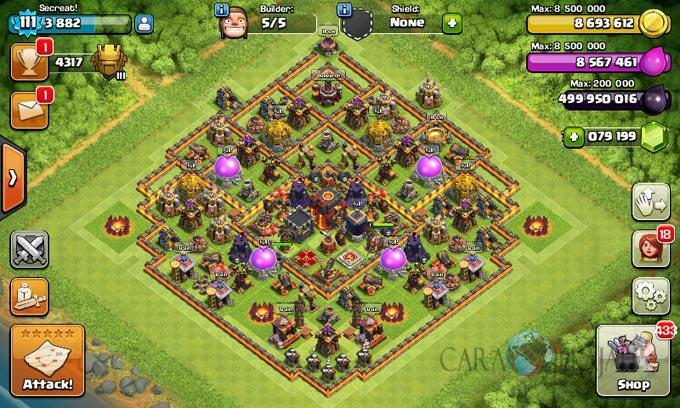 Desain Base Pertahanan Terbaik Untuk Base War TH 10 Update Terbaru 31