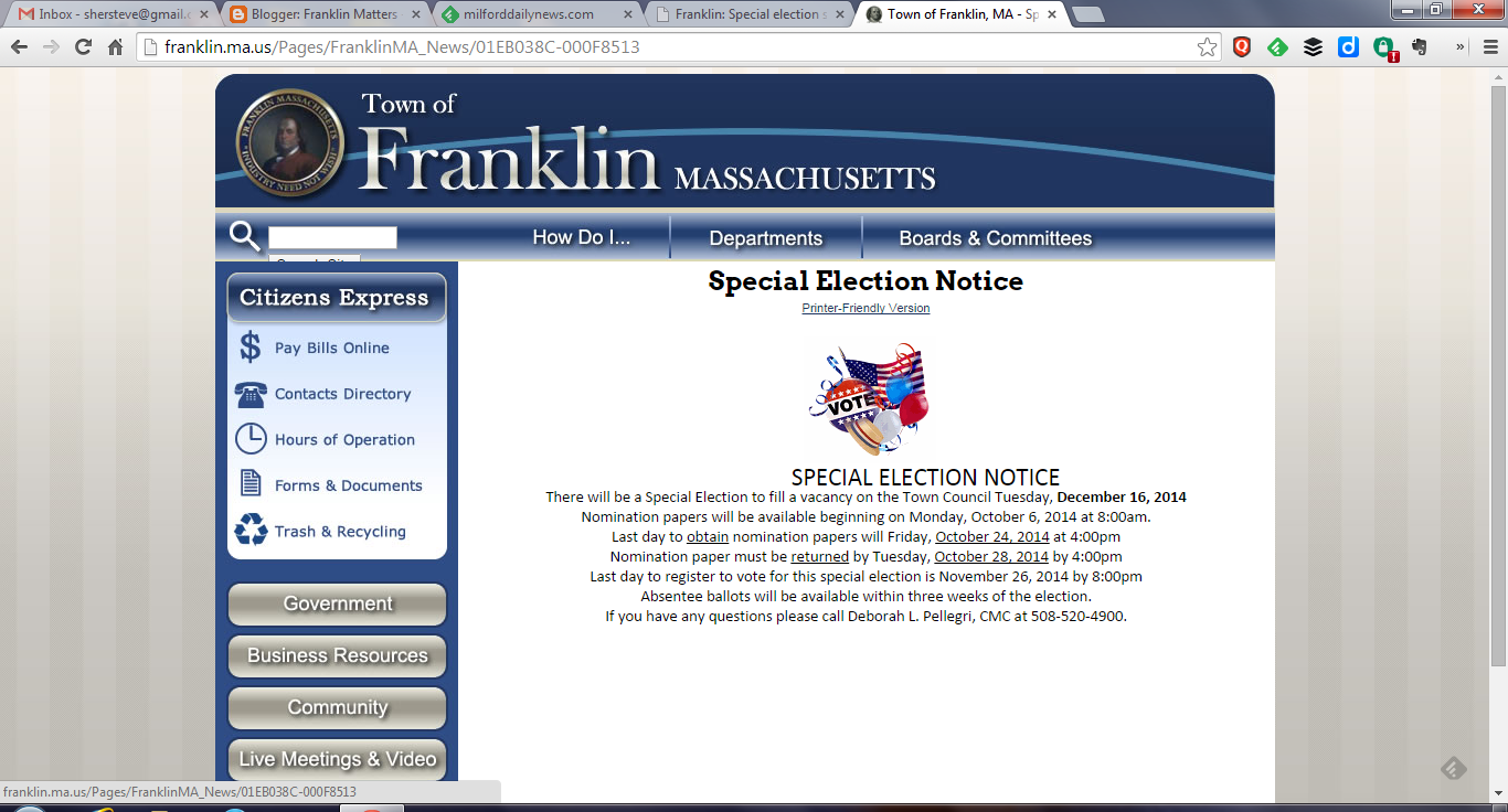 Special Election announced for Dec 16, 2014