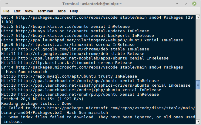 apt error - hash sum mismatch