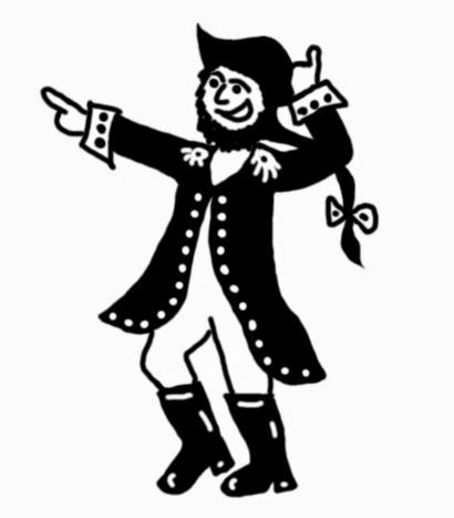 Illusztráció gyerekvershez, rajz egy szkúner kapitányáról, matrózoknak hajótöréskor példát mutató vad pózban, ami Travoltához hasonlít a Grease-ben.
