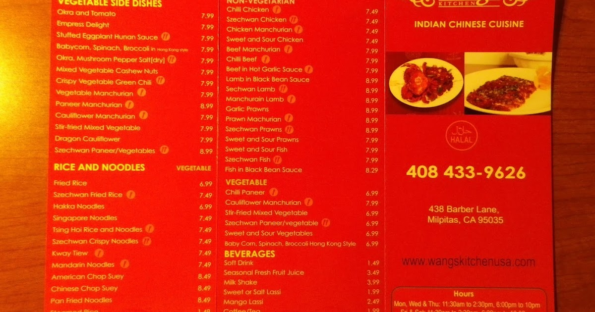 Wangs Kitchen Menu Milpitas Ca