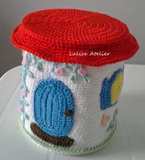 casinha crochê, casinha CD, casinha reciclável, crochet house, casita ganchillo