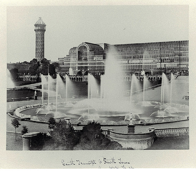 Crystal Palace South transept & south tower from Water Temple, 1854, Philip Henry Delamotte, Negretti and Zambra