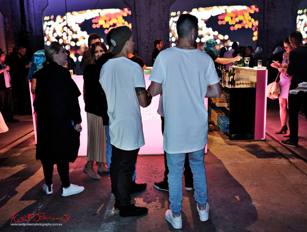 White tee's at the bar - UE Boom 2 Launch at Carriageworks Sydney #PartyUp photographed by Kent Johnson for Street Fashion Sydney.