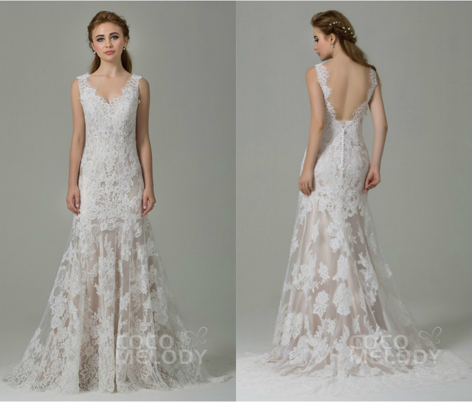 Fabulous Sheath-Column Straps Natural Train Lace Ivory/Champagne Sleeveless Open Back Wedding Dress