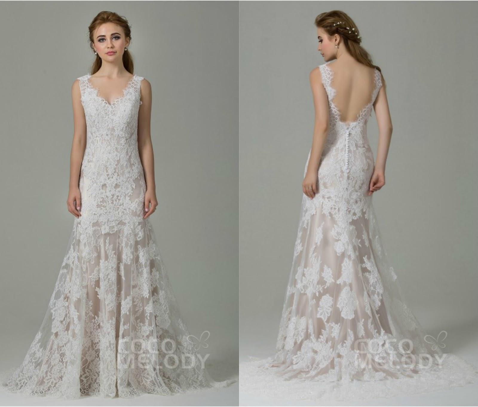 Fabulous Sheath-Column Straps Natural Train Lace Ivory/Champagne Sleeveless Open Back Wedding Dress