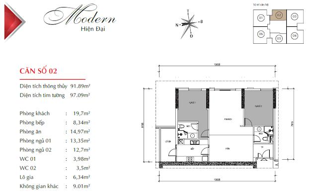 Căn hộ 02 với diện tích 91m2 thông thủy, 02 phòng ngủ