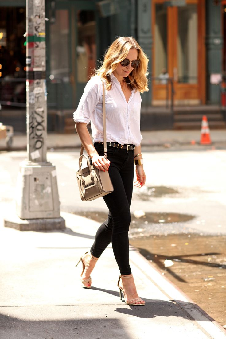Brooklyn Blonde - White Button Down, Celine Bag