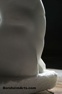 translucent stone Back to Back marble sculpture direct carving figure art