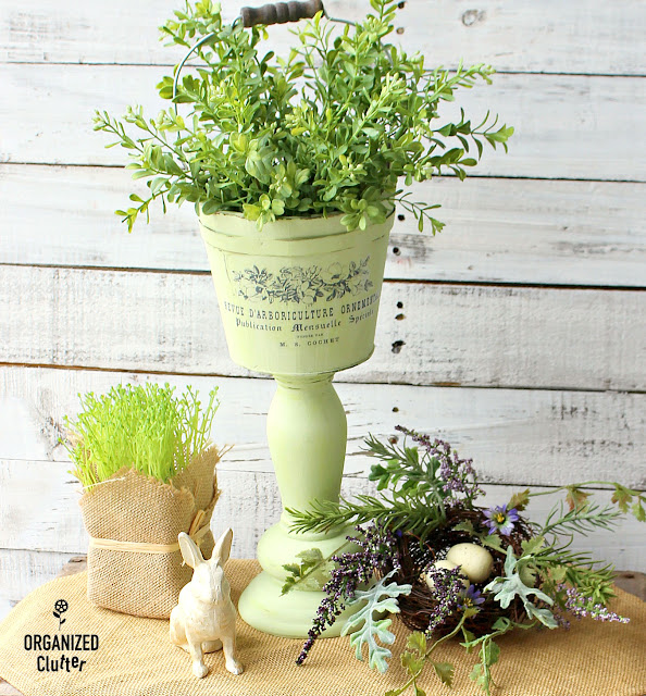 Thrifted Wooden Bucket & Candlestick Pedestal Planter #upcycle #repurpose #springdecor #primamarketingtransfer #frenchcountry #pedestalplanter
