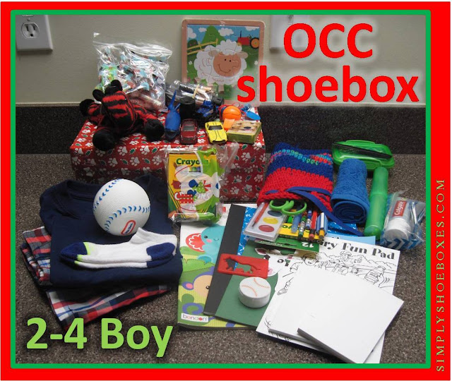 What to pack inside an Operation Christmas Child shoebox for a 2 to 4 year old boy.