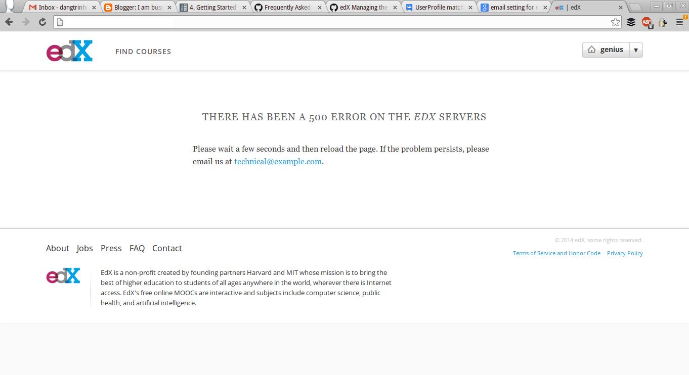 edX-platform - Error in dashboard when logging in as superuser account