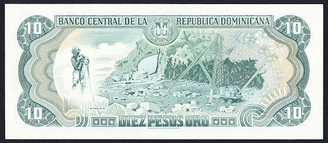 Dominican Republic money 10 Pesos Oro banknote 1996 Quarry mining scene