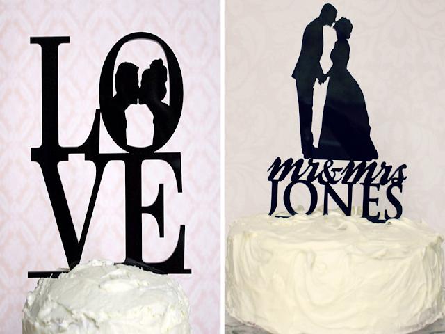 topo de bolo casamento silhueta ou iniciais dos noivos