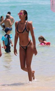 Lais Ribeiro Huge Boobs Sexy Ass Slim Figure on Display in Tiny Thongs Beach Bikini Candids