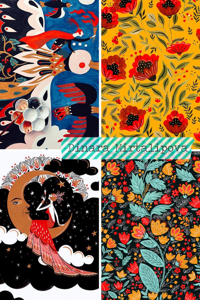 MirDinara artist, designer, illustrator, illustration, folk art, painting, gouache, hand carving