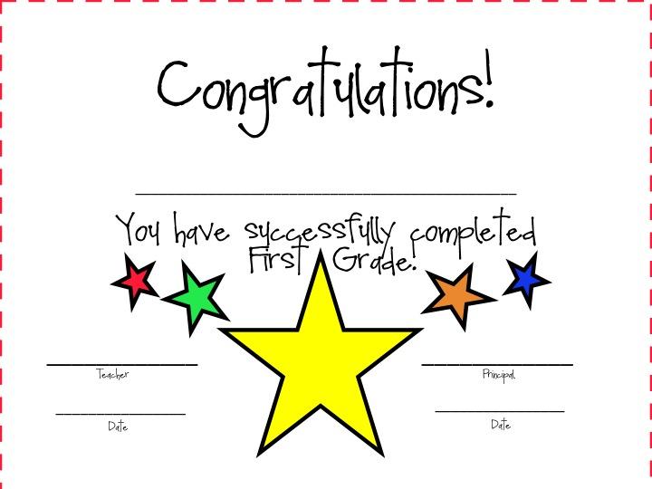 First Grade Fanatics First Grade Awards Certificates