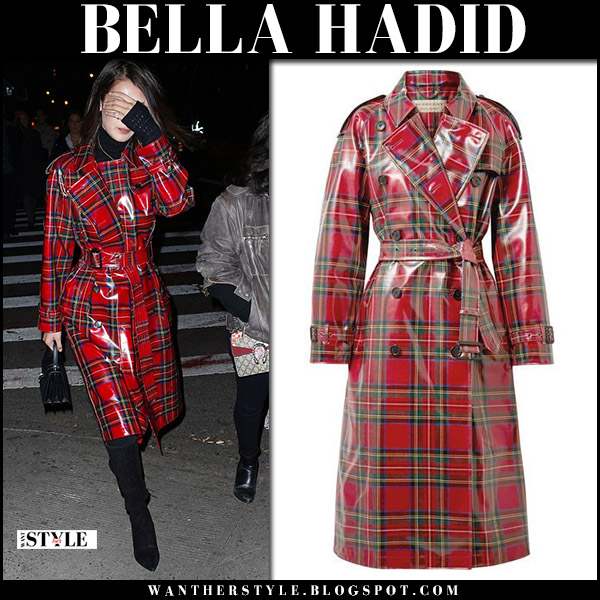 Bella Hadid in red plaid coated trench coat burberry and black boots zvelle fall fashion style november 29