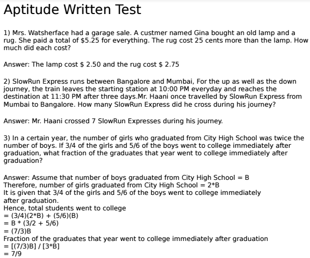 Aptitude Written Test Questions And Answers With