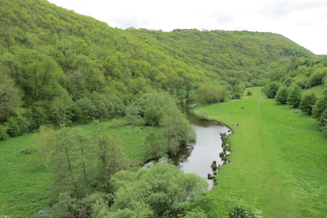 A winding river with extensive grass meadow on either side and tree covered hills above.