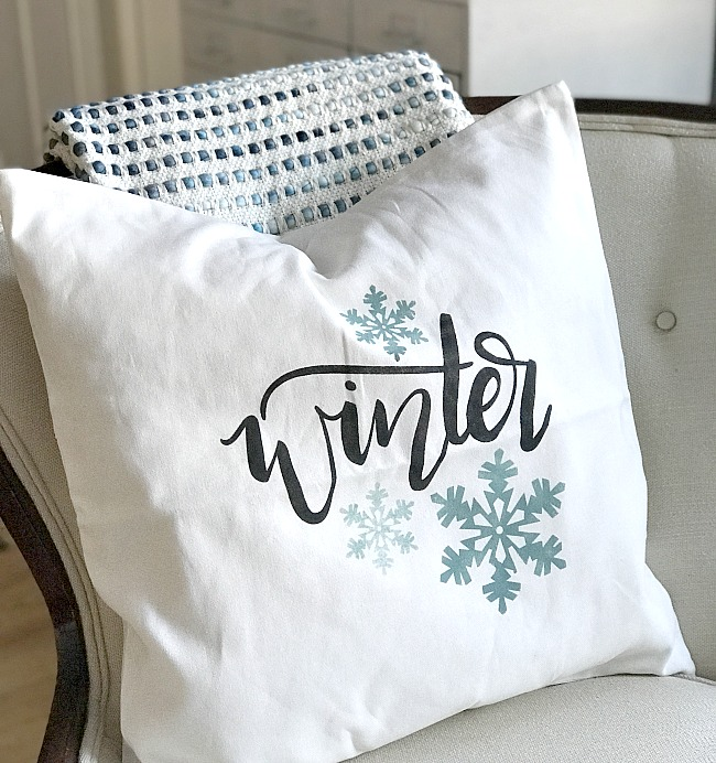 Winter themed DIY stenciled pillow cover