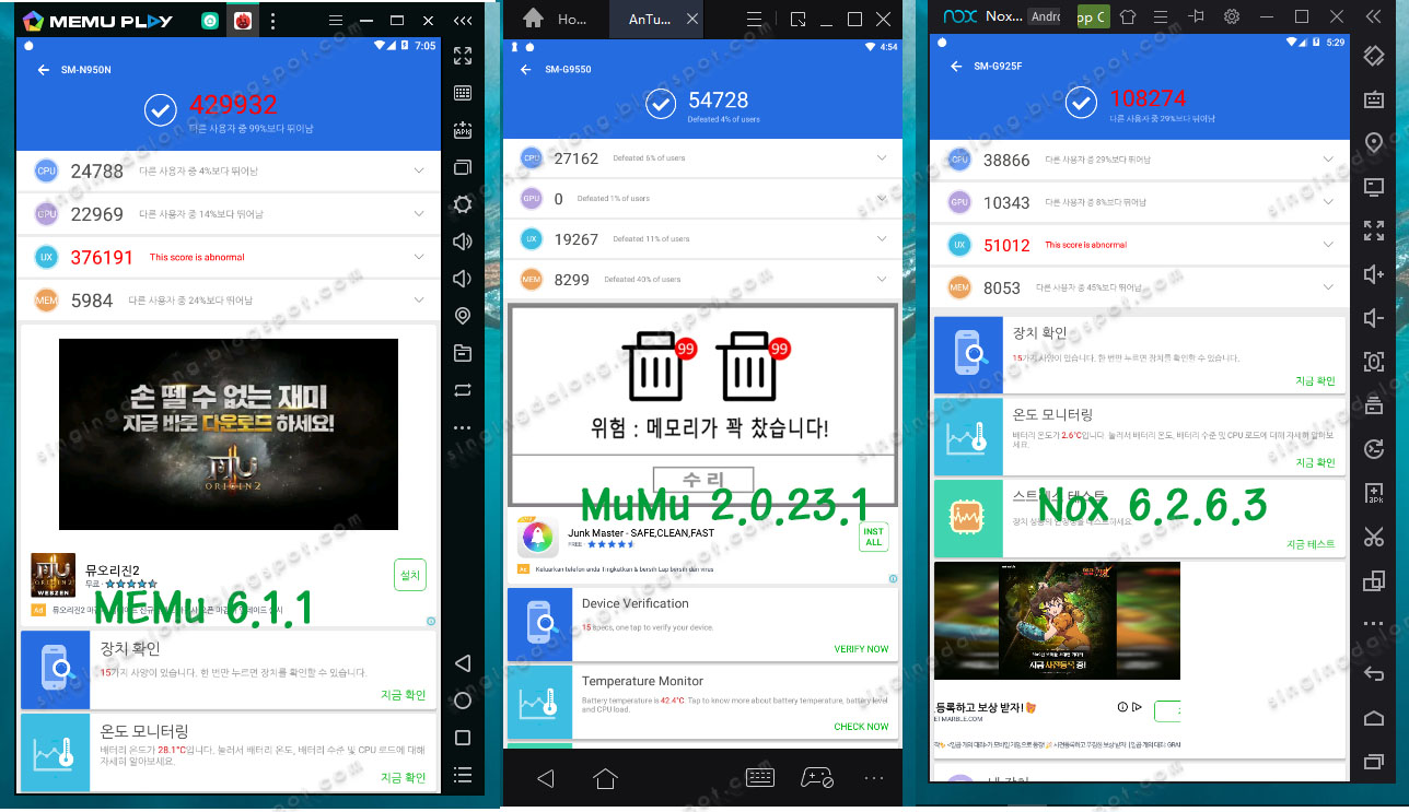 Android emulator Nox, MEmu, MuMu, BlueStacks benchmark