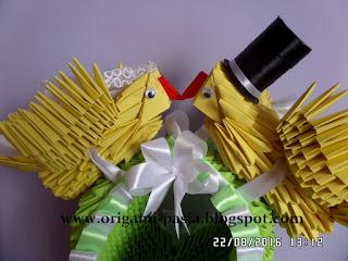 kosz, kanarki, gołębie, ślub, na słodkości, na cukierki, origami, modułowe, 3d