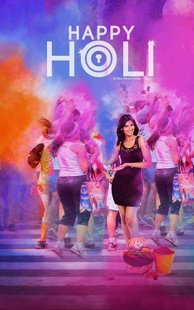 Happy holi girl background banner editing