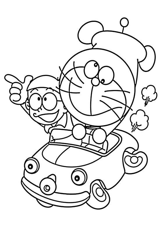 Tranh cho bé tô màu Doraemon
