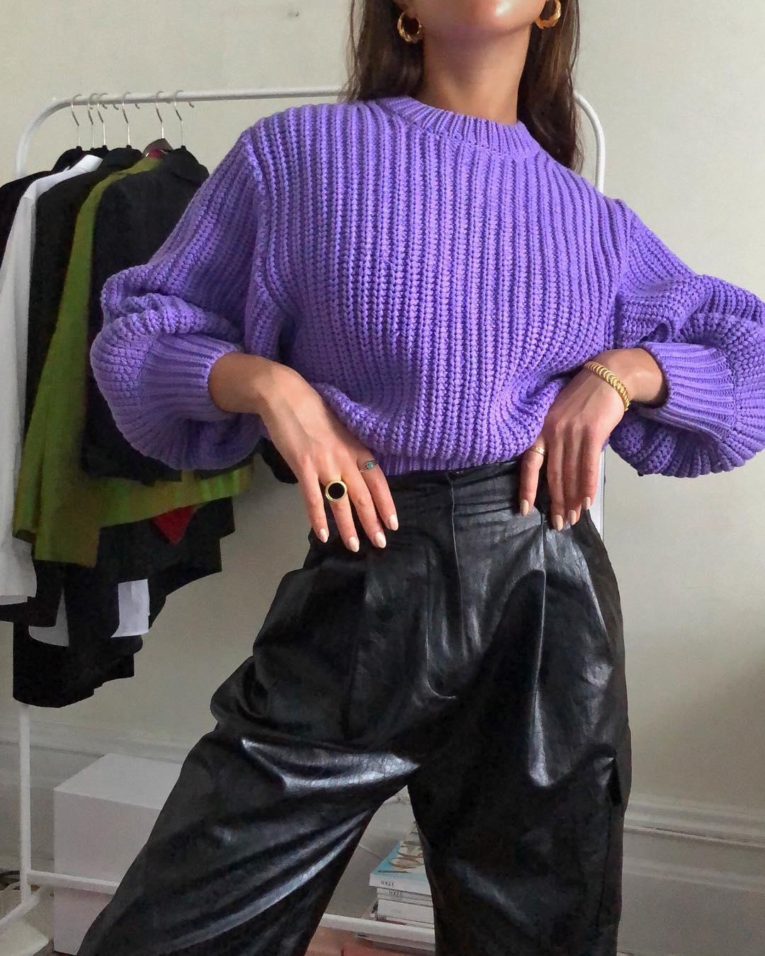 Best Purple Sweaters – Sasha Mei, Instagram Outfit Idea