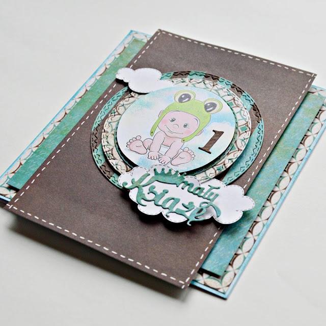 wielowarstwowa kartka na pierwsze urodziny chłopca