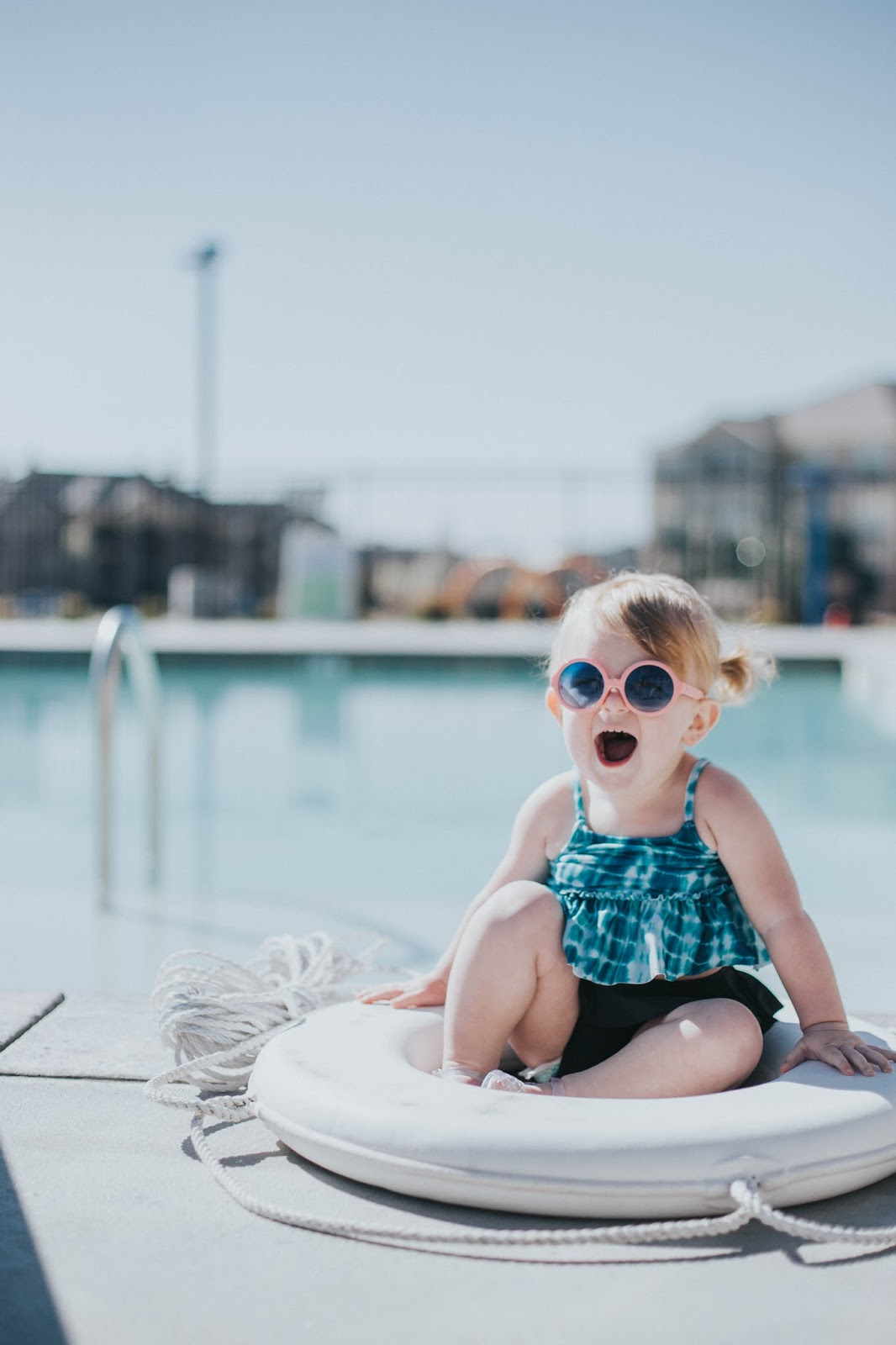 Baby Swim Suit, Baby Sunglasses, Happy Baby