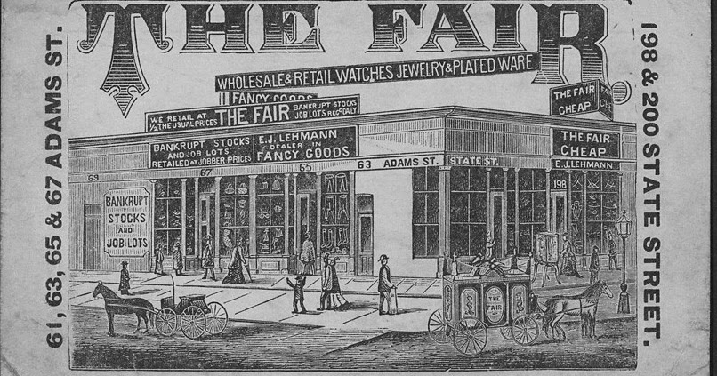 The Digital Research Library of Illinois History Journal™: Advertisement card for The Fair Store ...