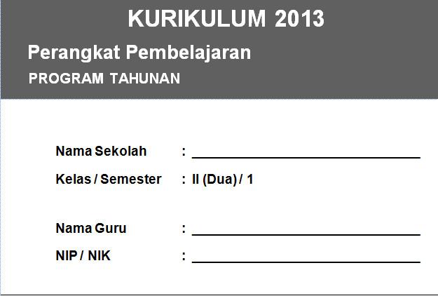 Program Tahunan (PROTA) Kurikulum 2013 Kelas 2 SD