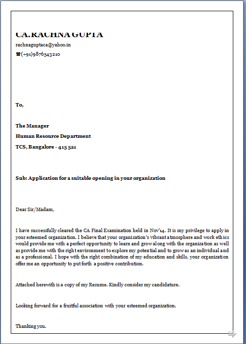 Amazing Cover Letter