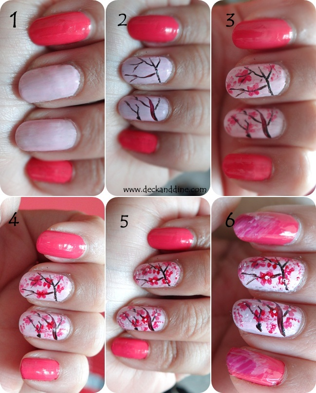 Paint The Index And Little Finger Nails With Hot Pink Nail Color Rest French Let It Dry Completely