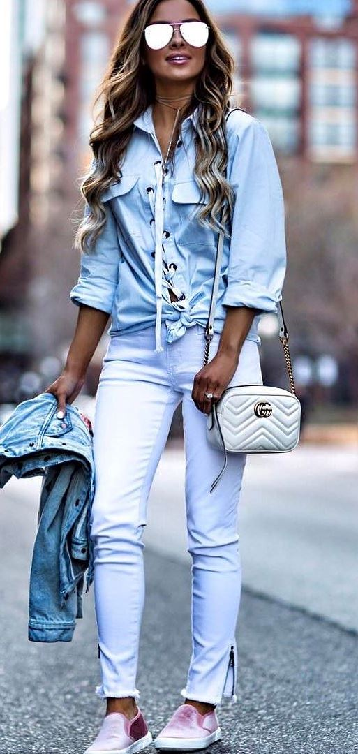 casual style perfection: shirt + jacket + bag + pants