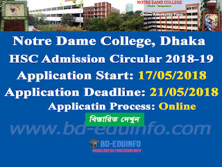 Notre Dame College, Dhaka HSC Admission circular 2018-2019
