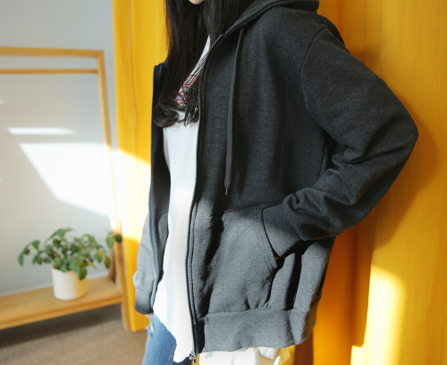Drawstring Hooded Zip Up jJcket