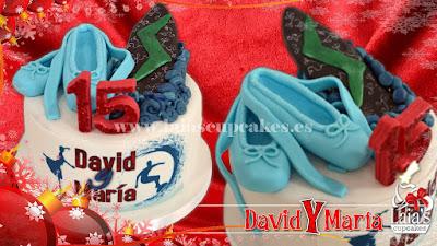 Tarta personalizada de fondant bailarina zapatillas ballet tabla de surf. Laia's Cupcakes Puerto Sagunto