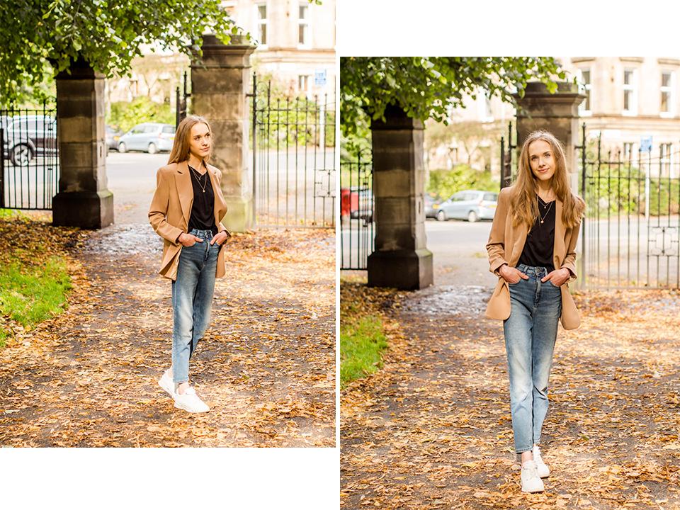 Autumn fashion inspiration 2019: camel blazer + chunky sneakers - Syysmuoti-inspiraatio 2019: kamelibleiseri ja valkoiset lenkkarit