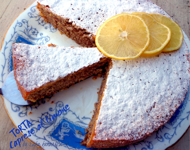 Torta Caprese al Limone by Laka kuharica: delicious, decadent and moist cake full of lemony flavor.