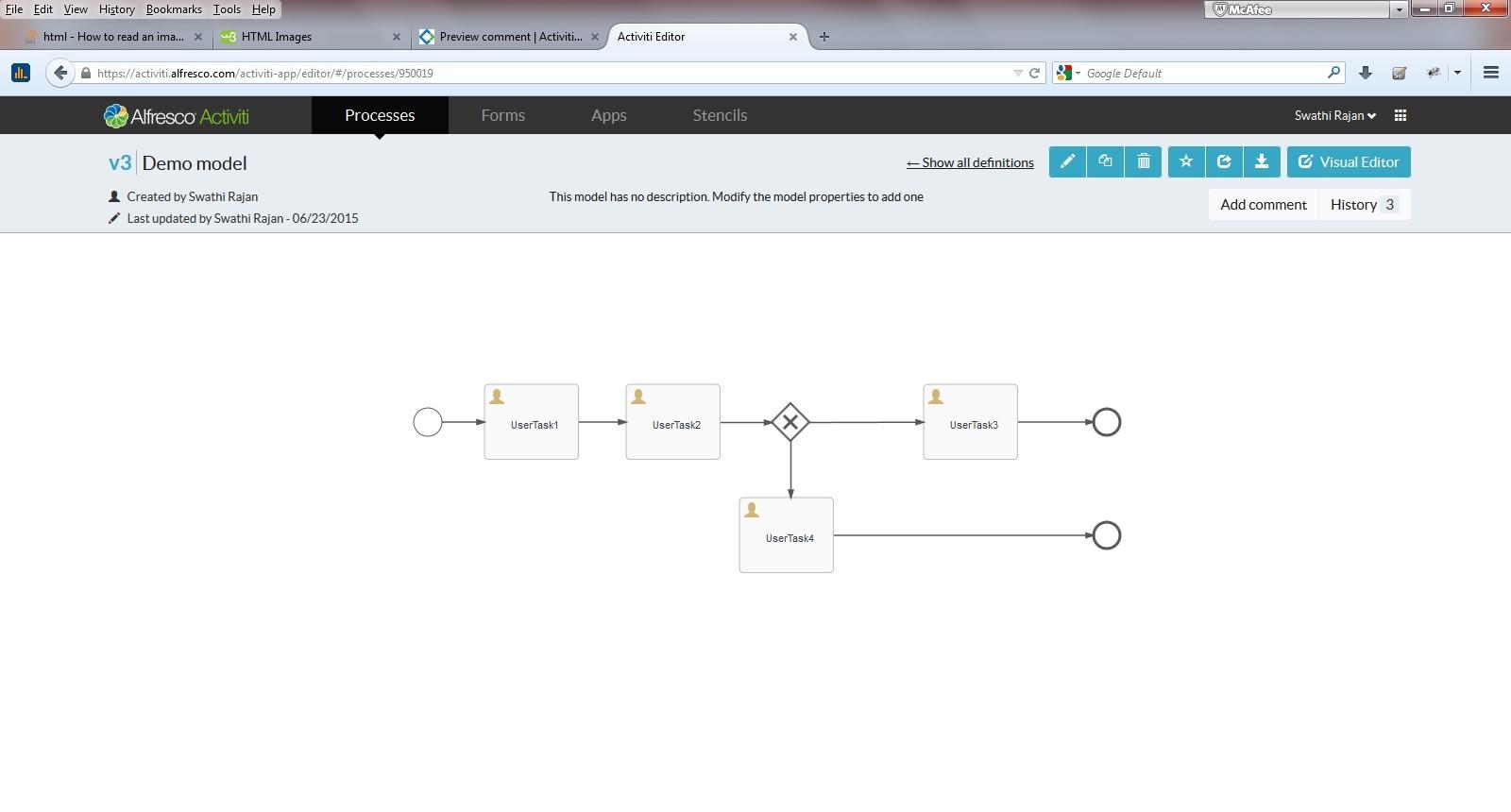 Go the extra mile     : Activiti BPMN Editor workflow