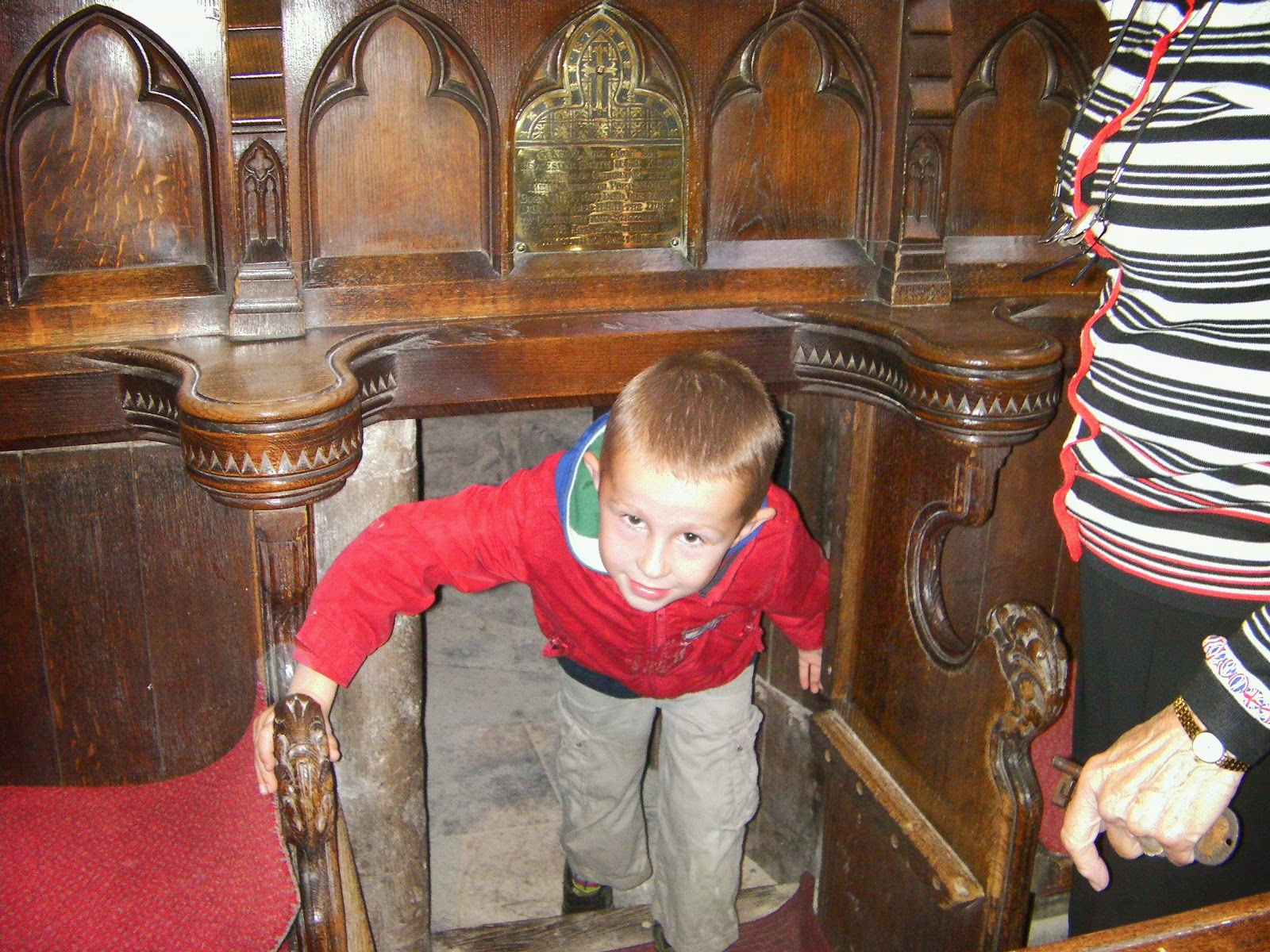 chorister pews with secret door to church tower