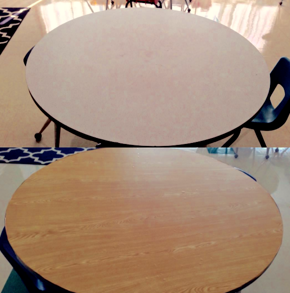 try covering older tables with contact paper to make them easier to clean