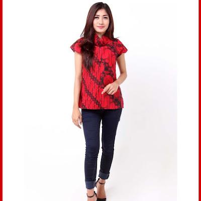 A4TBD Kemeja Batik Maroon Lionie Elegan Bj99A4