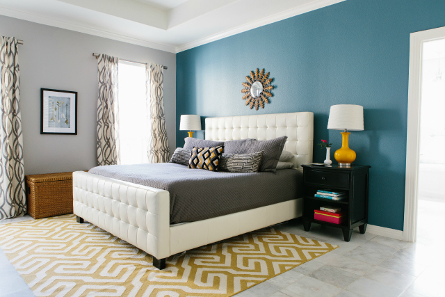 painting one wall a different color in a bedroom master bedroom reveal with minted design improvised 21338